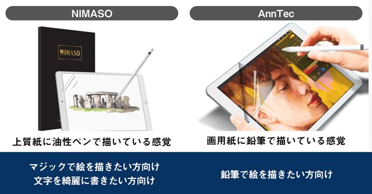 NIMASO ペーパーライクフィルム AnnTecと比較