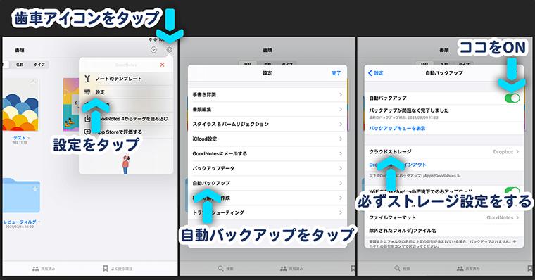 GoodNotes5の設定 データ管理画面:自動バックアップ