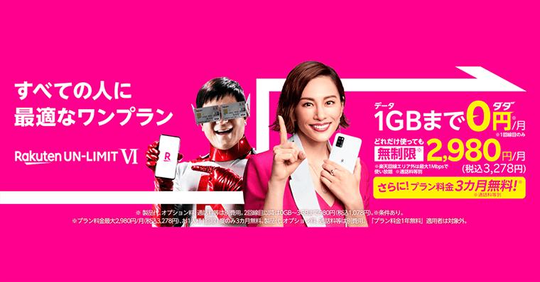 楽天モバイル3ヶ月無料キャンペーンがお得