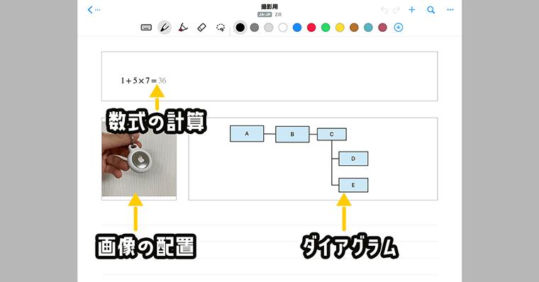 Nebo 数式の計算・画像の配置・ダイアグラム・タイトルなどの機能がある