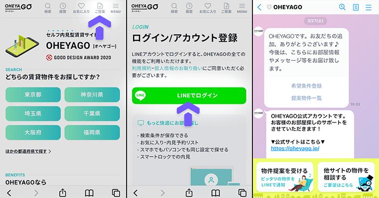 OHEYAGO(オヘヤゴー)利用の手順 内見の申し込み